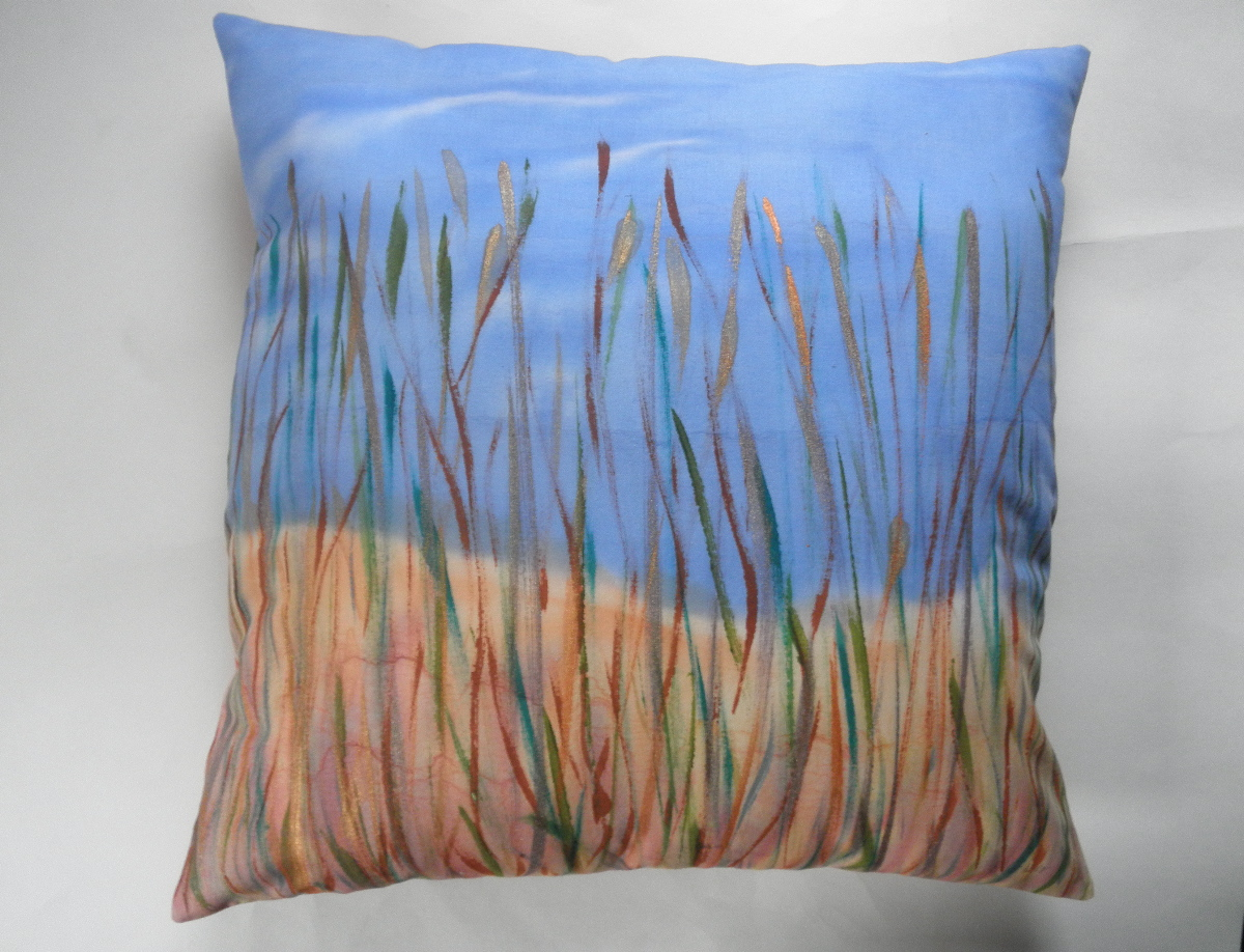 decorative pillow cover with hand painted fall meadow design