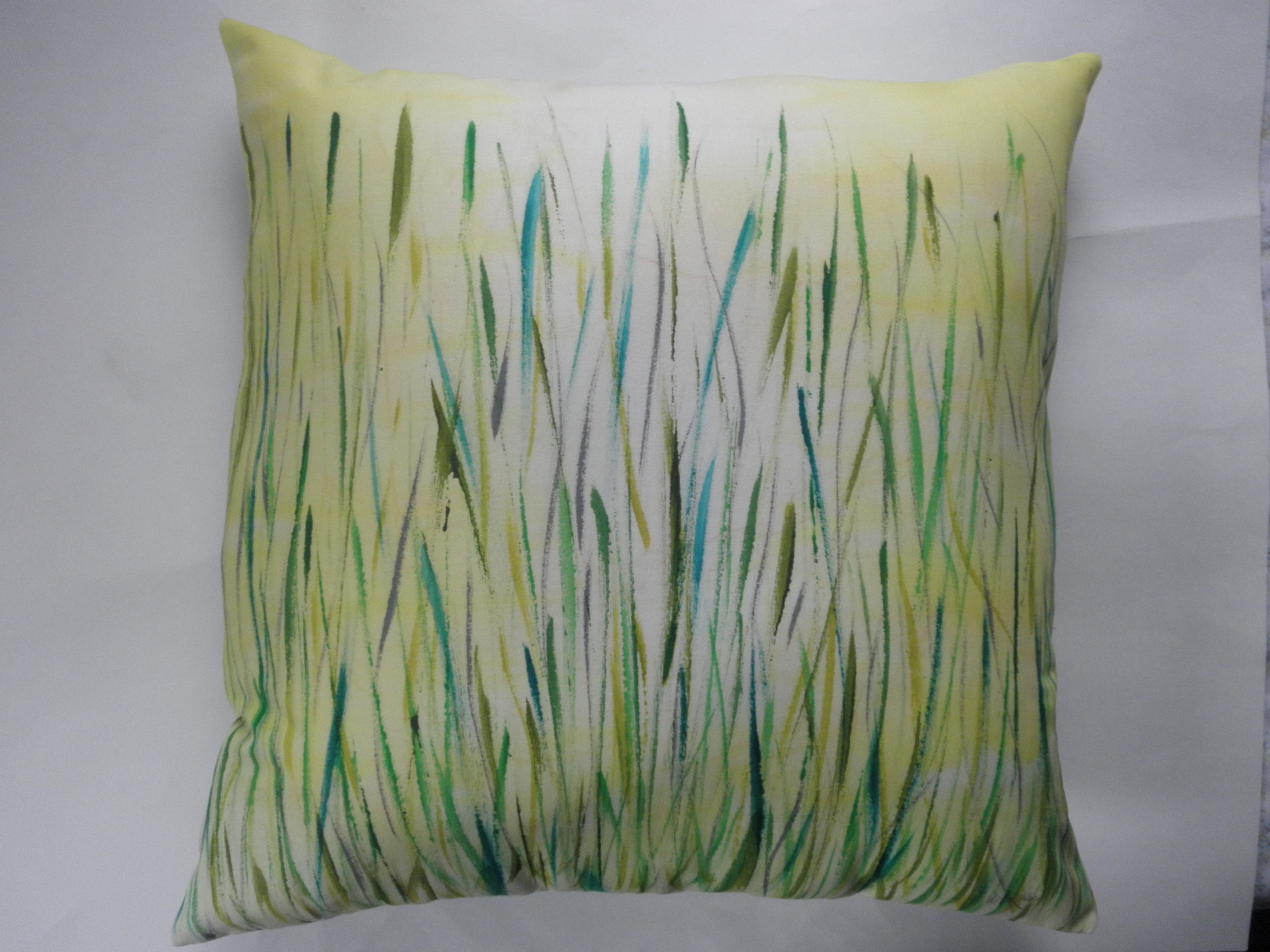 decorative pillow cover with hand painted summer meadow design