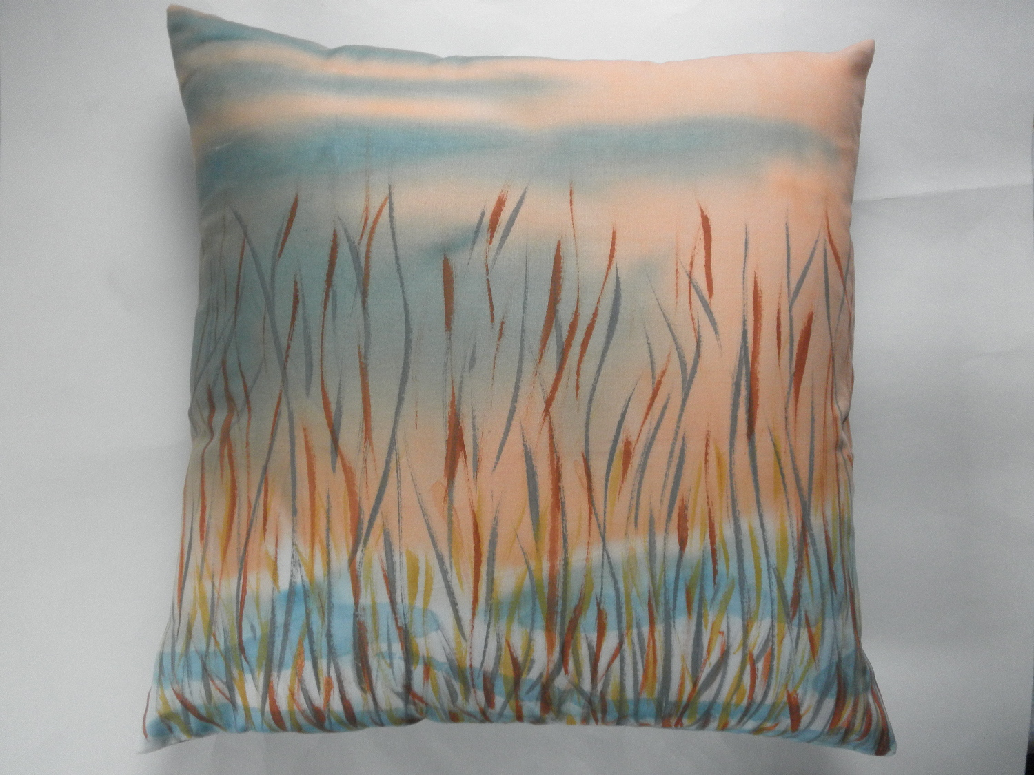 decorative pillow cover with hand painted winter meadow design