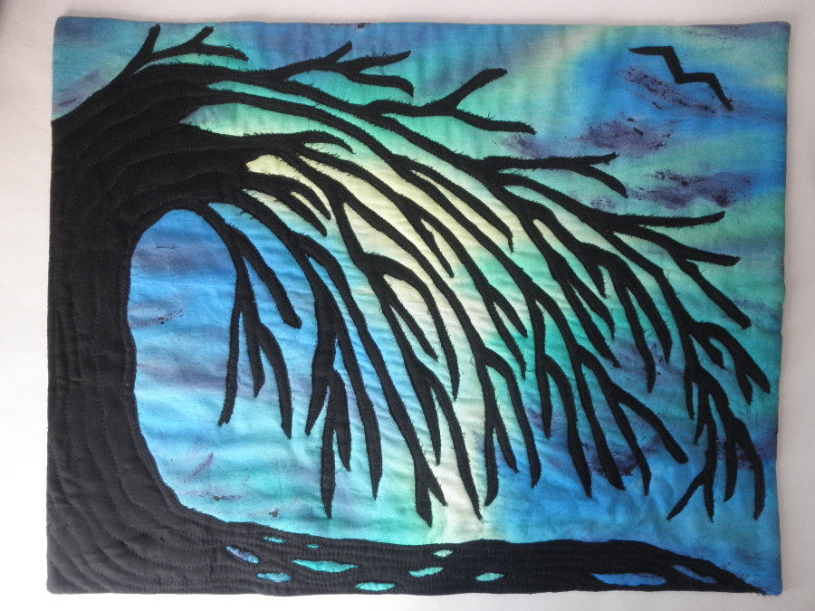 Weeping willow Wall Art quilt made with hand painted fabric(Sold)