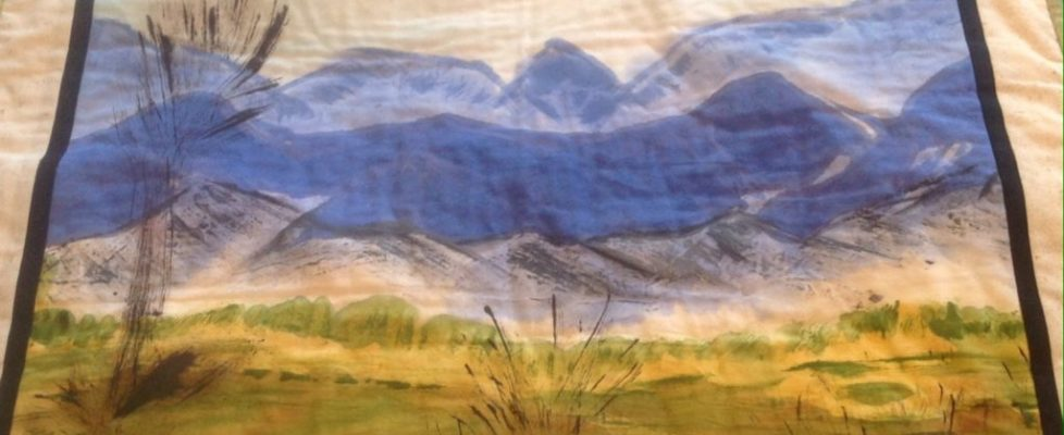 Blue ridge Mountains quilt from hand painted fabric
