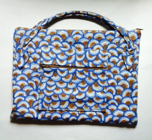 fabric document pouch with zipper and many pockets