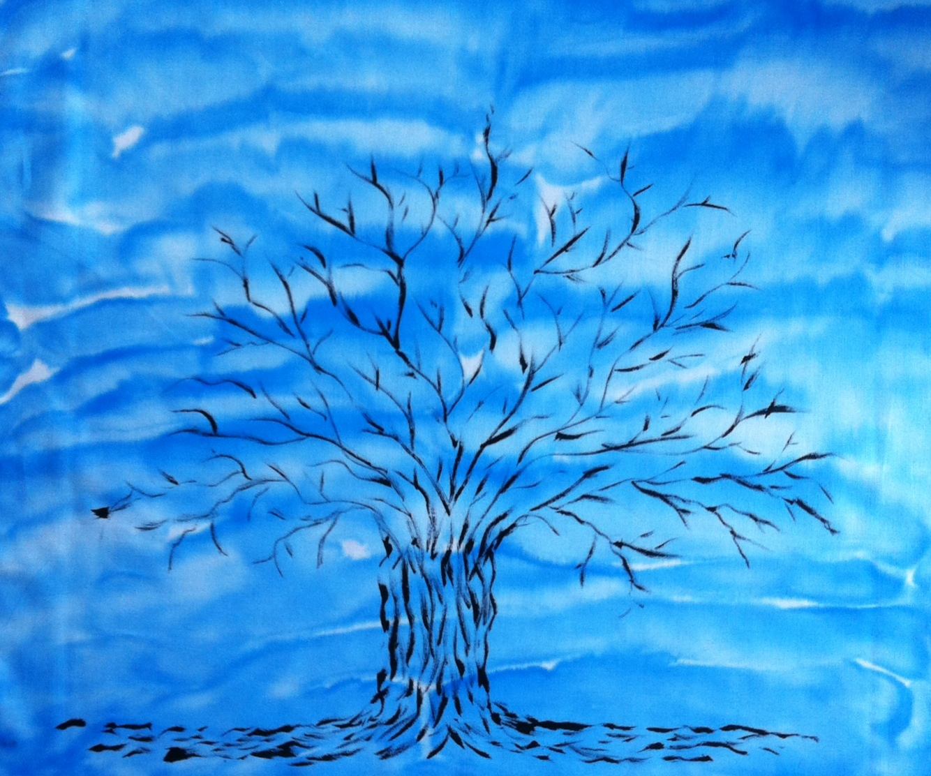 blue sky tree of life quilt fabric all hand painted