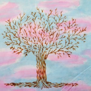 Sunny sky tree of life quilt fabric