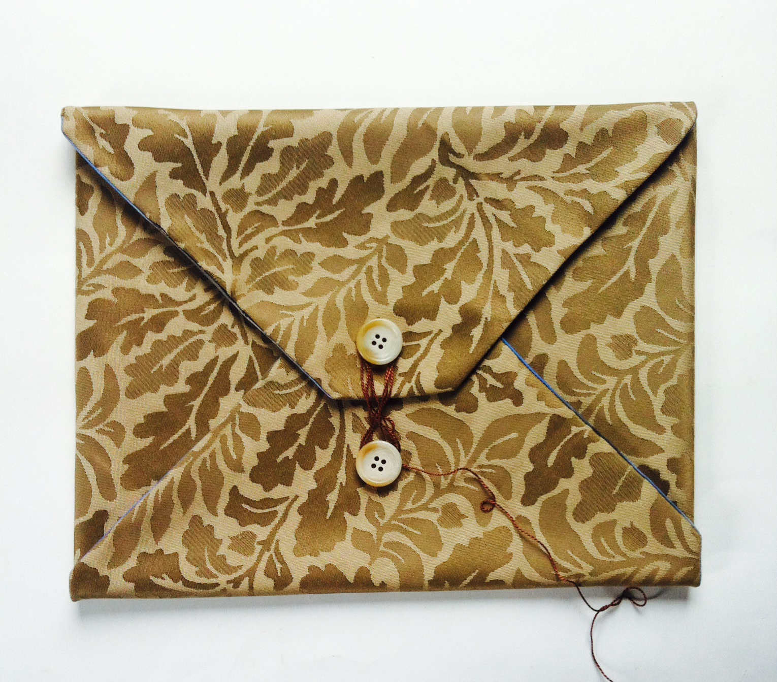 fabric document folder golden leaves fabric closed