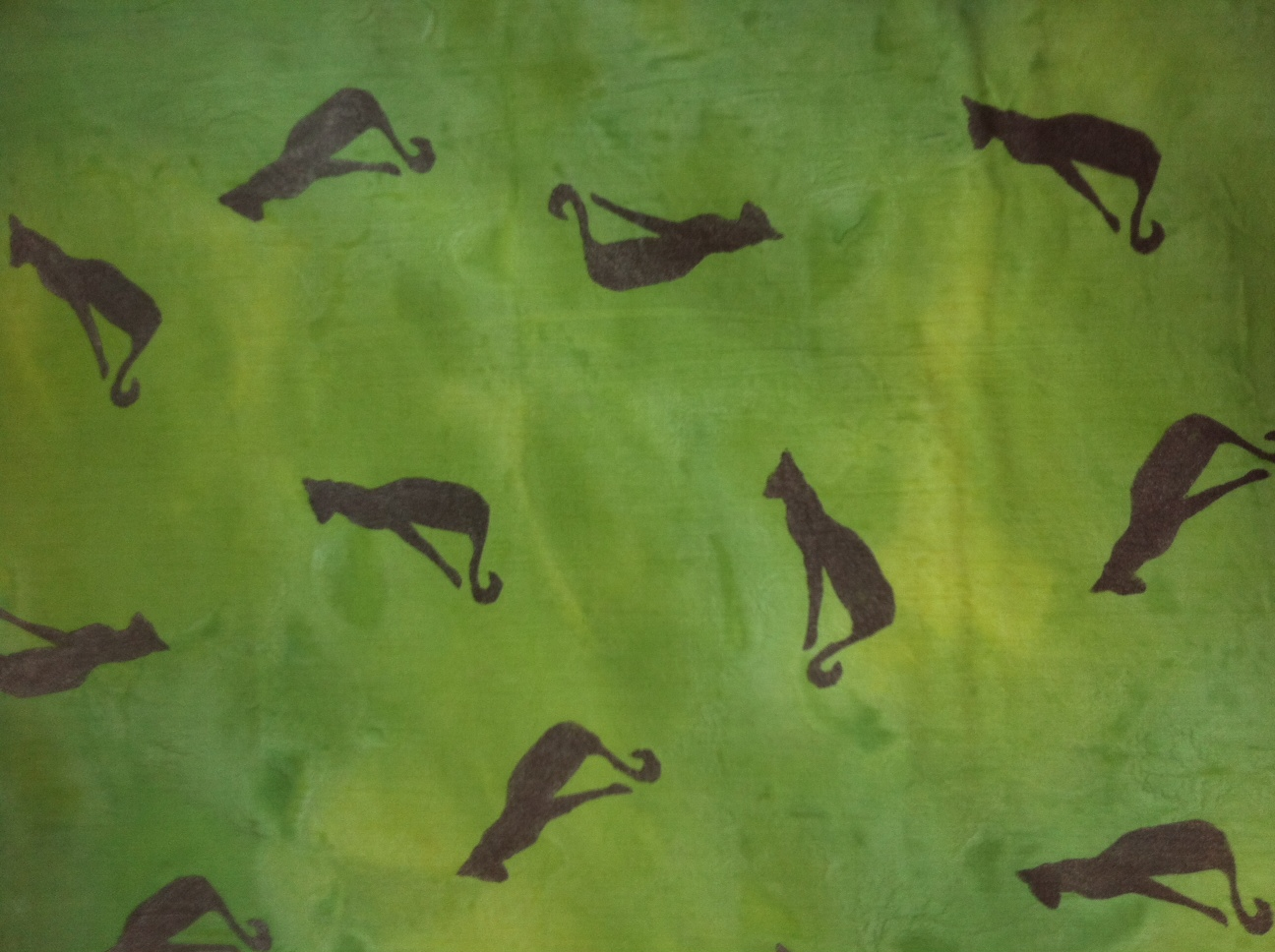 Hand painted soft cotton green cat fabric with hand stenciled shimmering cats