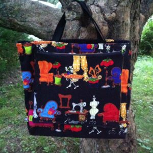 knitting or quilting bag whimsical fabric
