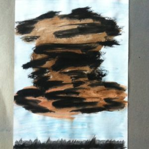 water color painting, worry cloud over town
